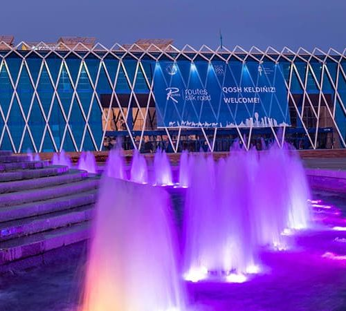 The beautiful fountains at night across from the Palace of Independence at the airline conference in Nursultan, Kazakhstan conference and event photography