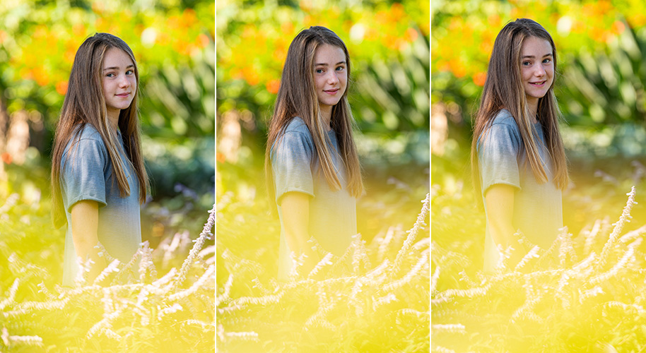 individual portraits taken through bright flowers