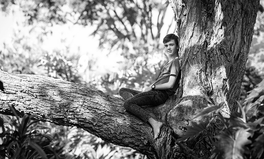 young boy sitting in a tree in black and white