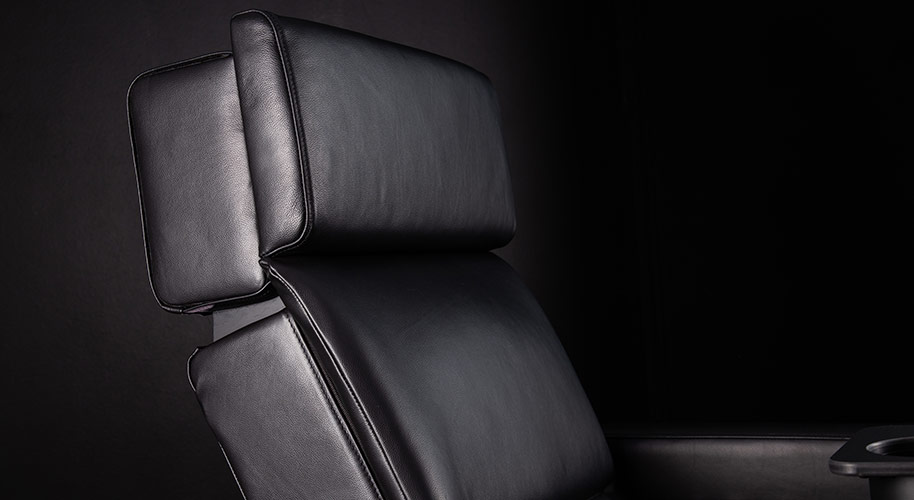 luxury chair for cinema showing the headrest photographed in studio corporate product photography and videography