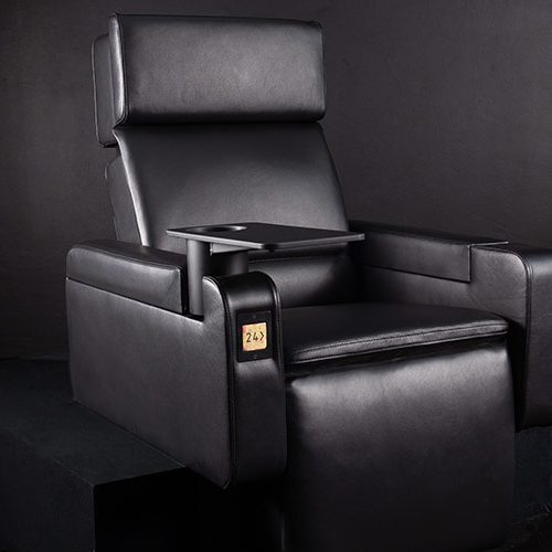 luxury chair for cinema in upright position photographed in studio corporate product photography and videography