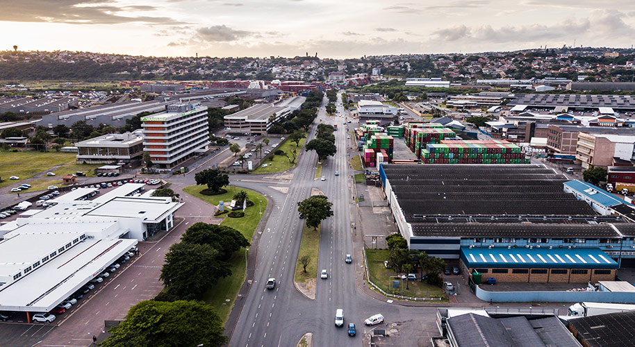 Aerial Photography Drone Photography Durban of Edwin Swales Drive showing car dealerships and industrial area