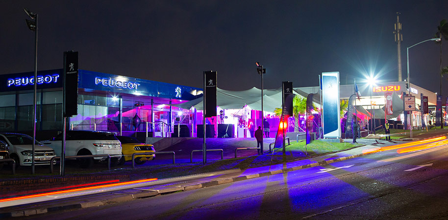 outside view of launch event at KEY Pinetown at Peugeot car launch corporate photography videography