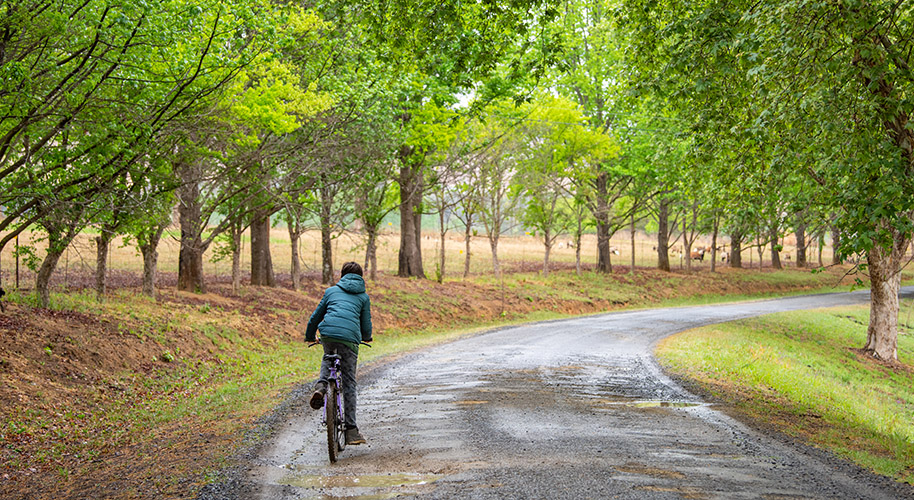 cycling outside the campsites
