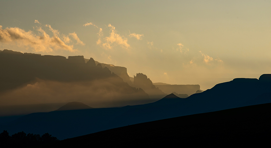 sunset in the Drakensberg